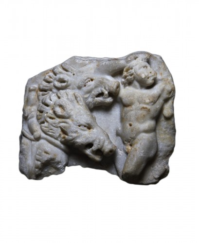 Marble relief with the myth of Adonis and Aphrodite, Roman