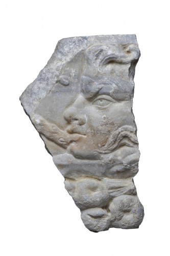 Marble Relief Fragment with a Satyr, Roman