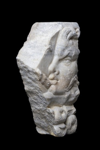 Ancient Art  - Marble Relief Fragment with a Satyr, Roman