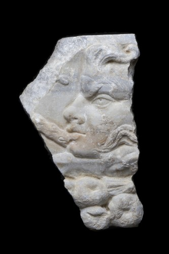Marble Relief Fragment with a Satyr, Roman -