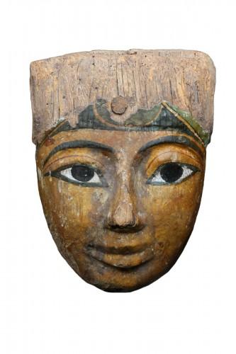 Polychromed wood sarcophagus mask, Egyptian