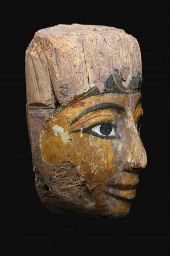 Polychromed wood sarcophagus mask, Egyptian - Ancient Art Style