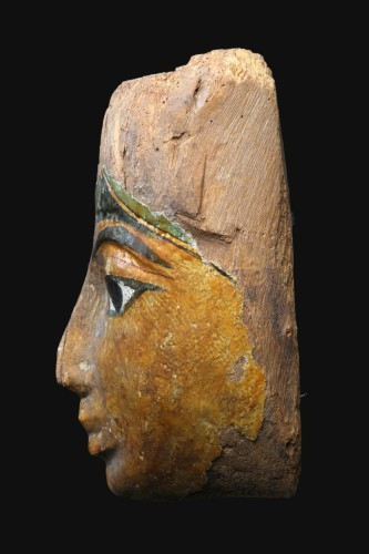 Ancient Art  - Polychromed wood sarcophagus mask, Egyptian