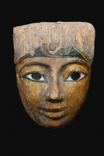 Polychromed wood sarcophagus mask, Egyptian -
