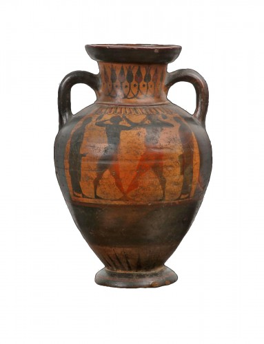 Terracotta Amphora with Boxers, Greek, Attic