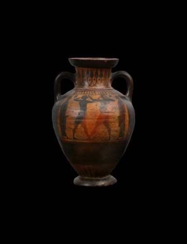 Ancient Art  - Terracotta Amphora with Boxers, Greek, Attic