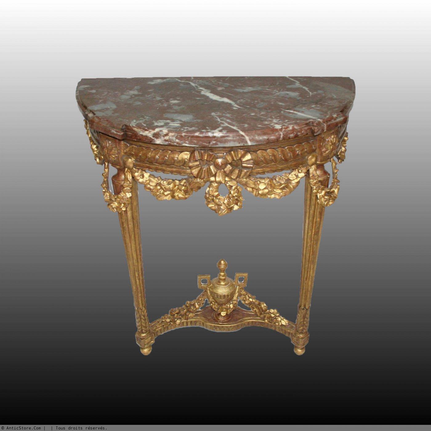 console demi lune d 39 poque louis xvi en bois dor xviiie si cle. Black Bedroom Furniture Sets. Home Design Ideas