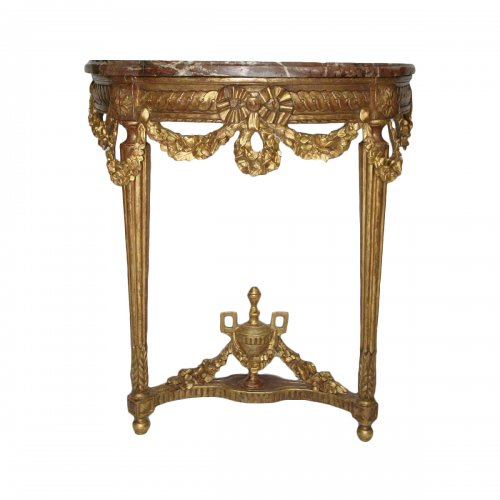 A Louis XVI Demilune giltwood console