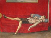 Woman on a red bed by Francis gruber (1912-1948)