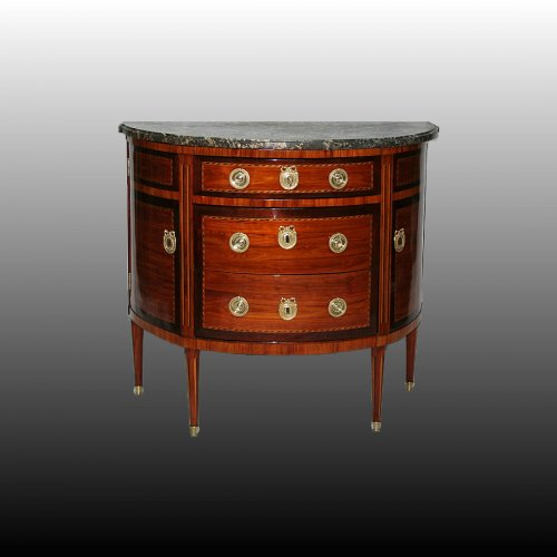 French Louis XVI demi-lune commode stamped J B PIGNIT