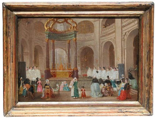 "18th century Painting  ""Religious Office"" French School"
