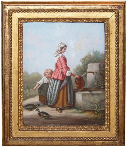 Young woman at the fountain - French School 18th century