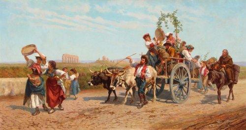 Village in the Roman countryside - Pietro GABRINI (1856-1926)