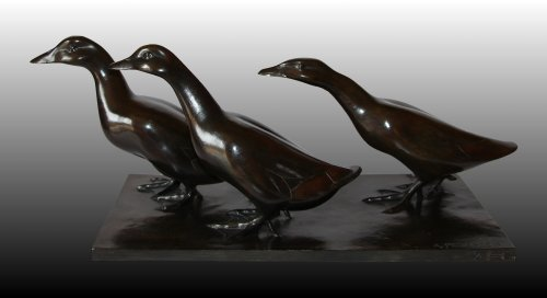 Ducks Group  - Armand Petersen (1891-1969) - Sculpture Style Art Déco