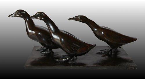 Ducks Group  - Armand Petersen (1891-1969) - Sculpture Style Art Déco
