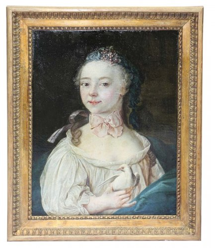 Girl with dove - French school of the 18th century