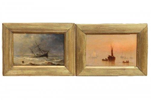 Henriette Herminie GUDIN (1825-1876) - Pair of marine painting