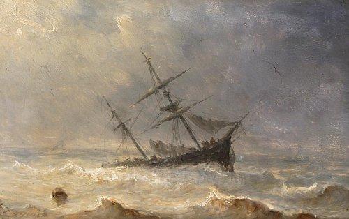 Henriette Herminie GUDIN (1825-1876) - Pair of marine painting - Paintings & Drawings Style