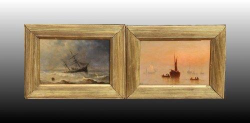 Henriette Herminie GUDIN (1825-1876) - Pair of marine painting -