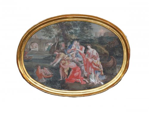 Moses Saved from the Waters -  French School, late 17th early 18th century