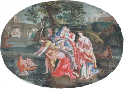 Moses Saved from the Waters -  French School, late 17th early 18th century - Paintings & Drawings Style Louis XIV