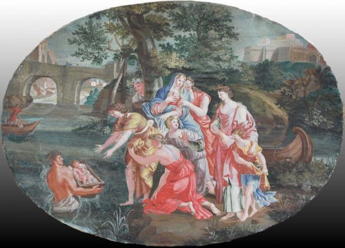 Paintings & Drawings  - Moses Saved from the Waters -  French School, late 17th early 18th century