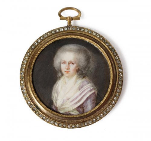 Miniature portrait of a woman - French school late 18th