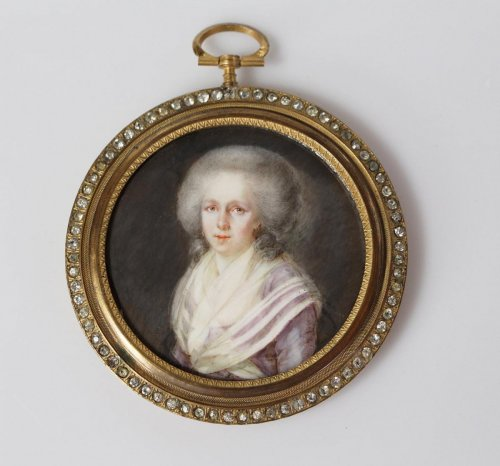 Miniature portrait of a woman - French school late 18th - Paintings & Drawings Style Louis XVI