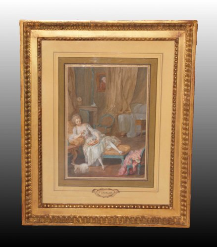 Paintings & Drawings  - Pair of gouaches on paper - Attributed to Jacques CHARLIER (c.1720-1790)