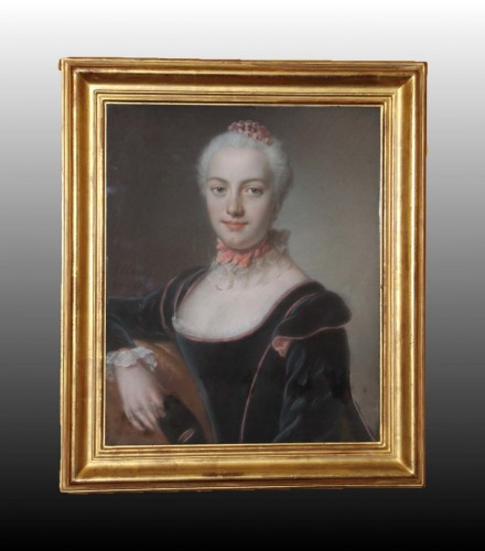 Portrait of woman - Pierre ALLAIS (1700-1781) - Paintings & Drawings Style Louis XV