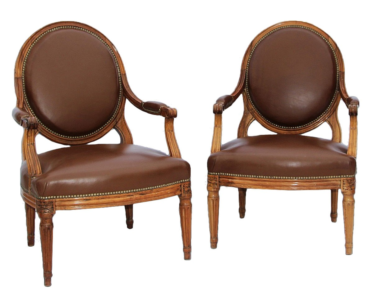 pair of antique armchairs 18th ref 66988