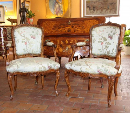 Pair of cabriolet armchairs Louis XV - Seating Style Louis XV
