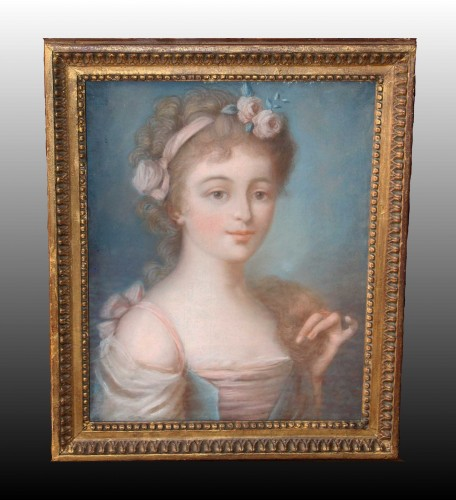Pastel portrait - French School of the late 18th century - Paintings & Drawings Style Louis XVI