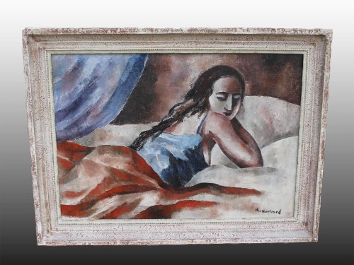 Jean DU MARBORÉ (1896-1933) - Young woman on a bed - Paintings & Drawings Style Art Déco
