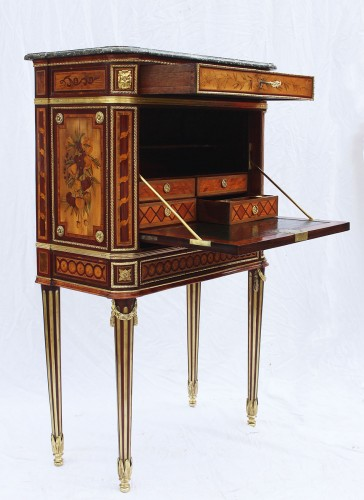 Antiquités - Secretary In Cabinet Louis XVI
