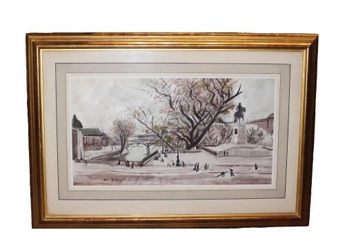 André Dunoyer de Segonzac (1884-1974) - Paris the Pont Neuf - Paintings & Drawings Style 50