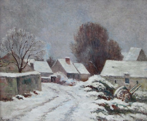 Maximilien LUCE (1858-1941) - Village of Rolleboise under the snow