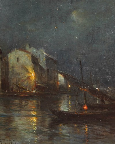 Georges Philibert Charles MARONIEZ (1865-1933) - Martigues, la nuit