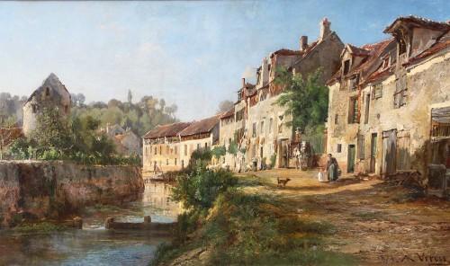 Alexandre Rene VERON (1826-1897)  - View of Crécy en Brie
