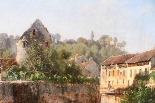 Paintings & Drawings  - Alexandre Rene VERON (1826-1897)  - View of Crécy en Brie