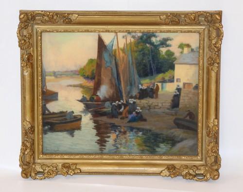 Mathurin Janssaud (1857-1940)  - Concarneau - Paintings & Drawings Style Art nouveau
