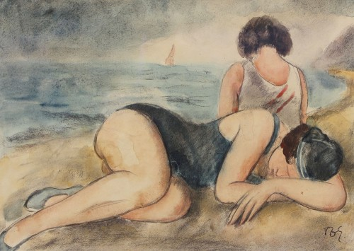 François Zdenek EBERL (1887-1962)  - Two friends at the beach