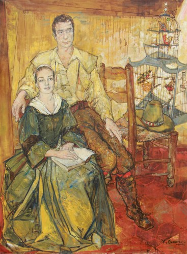 Jean Commère (1920-1986) - Portrait of Yves Montant and Simone Signoret