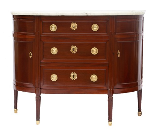 Louis XVI Half-Moon Commode, Stamped By Louis Noël Malle (1734-1782)