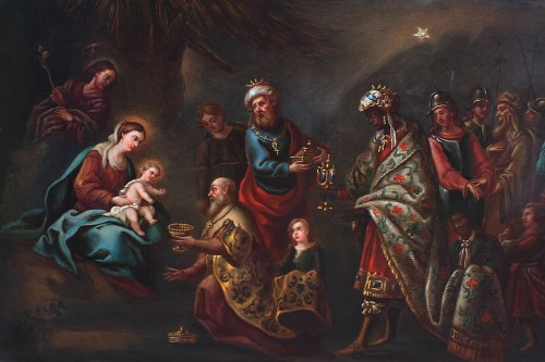 Adoration of the Three Kings - Porcelain plate from the 19th century