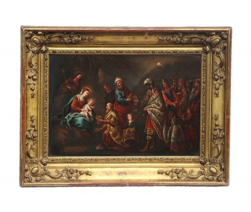 Adoration of the Three Kings - Porcelain plate from the 19th century - Porcelain & Faience Style Restauration - Charles X