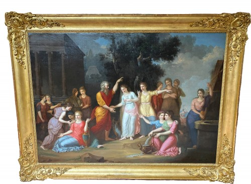 Eliezer and Rebecca - German or Austrian neoclassical school circa 1770 - Paintings & Drawings Style