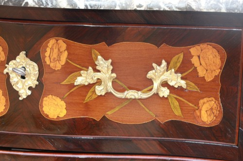 """Furniture  - Louis XV period """"sauteuse"""" chest of drawers"""