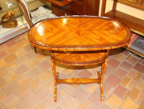 Double table top in rosewood veneer, -