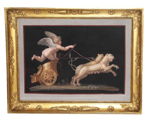 "Pair of Gouaches on ""Pompeiian"" paper on a black background -"